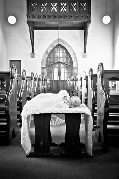 Baby on Christening day in the church