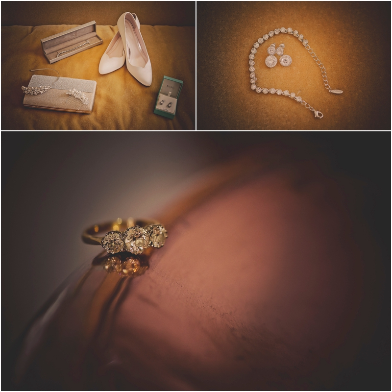 Brides accessaries laid on the bed at The Lodge at Ashford Castle