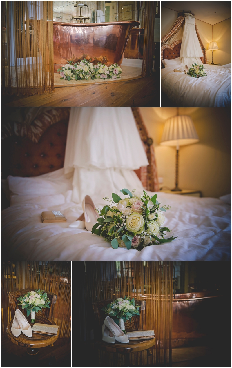 The Lodge at Ashford Castle, Dress hanging, flowers and shoes