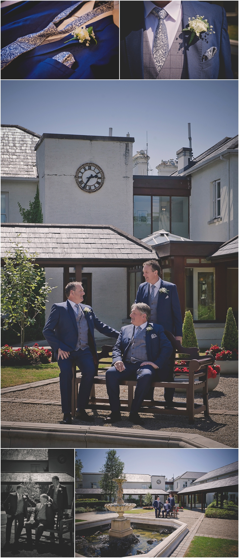 Groom and groomsmen in the courtyard at The Lodge at Ashford Castle