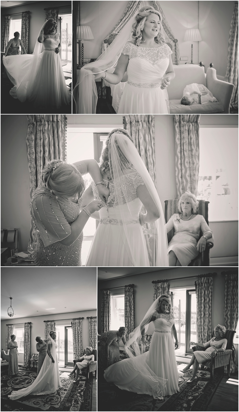 Bride getting dressed in The Lodge at Ashford Castle