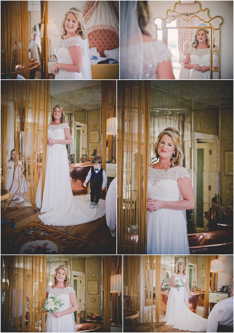 Brides portraits before the ceremony in The Lodge at Ashford Castle