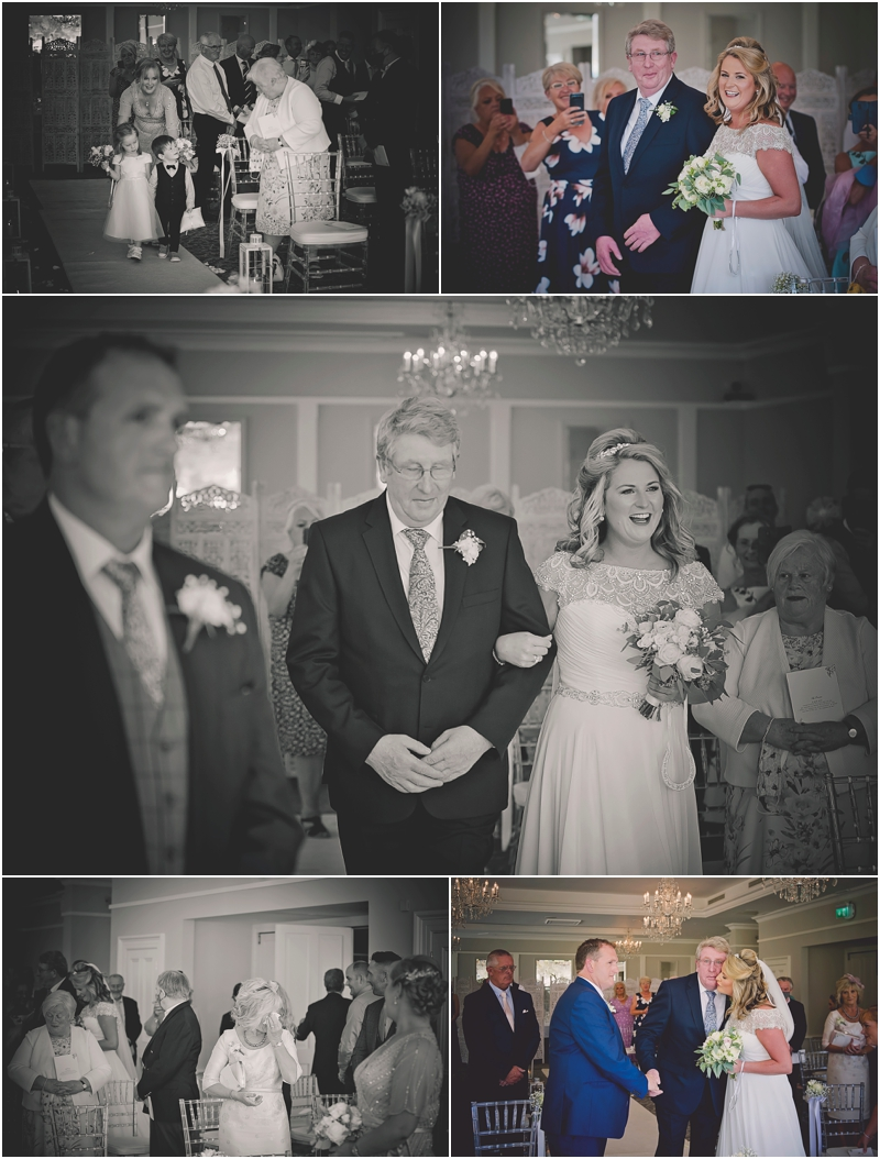 Father walks daughter up the aisle at The Lodge at Ashford Castle