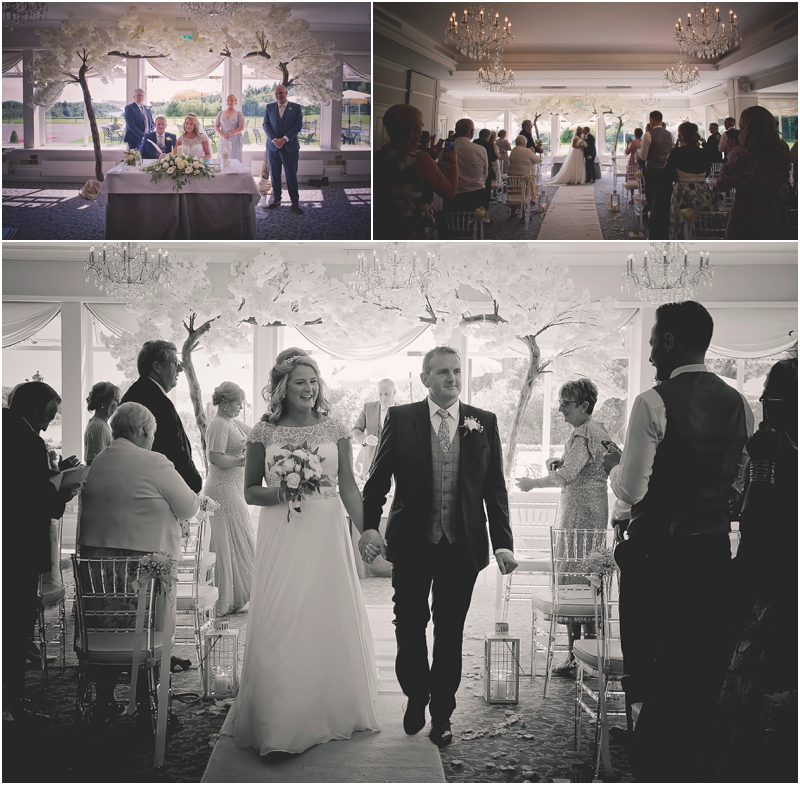 Bride and groom walk down the aisle at The Lodge at Ashford Castle