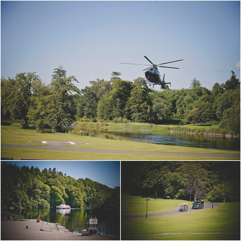 Helicopter lands at The Lodge at Ashford Castle