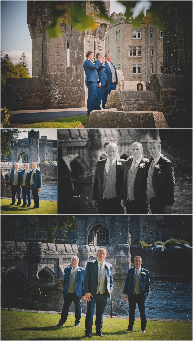 Groomsmen posing for phtoos at The Lodge at Ashford Castle